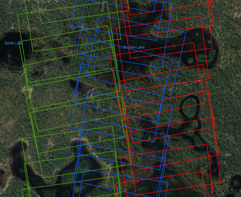 Figure 1 - Sample of the flight track for camera data collected on April 15th, 2019 over the site DSNY showing the extent of overlap among the images. Green, red and blue images were captured in three respective flight lines. (Background from GoogleEarth)