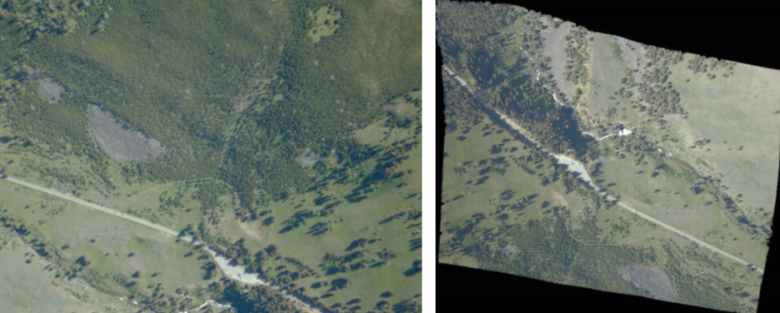Figure 2 - Image C0119_2019-07-20_11644_12969 taken from Yellowstone National Park in 2019: left, the raw image, right: the orthorectified image.