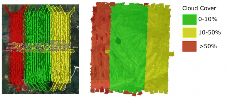 Figure 5 - 2019 HEAL collection showing spatial weather quality metadata. Left: flightline KMLs colored by observed weather conditions in Google Earth, right: Weather conditions used in pixels selected for final mosaic.