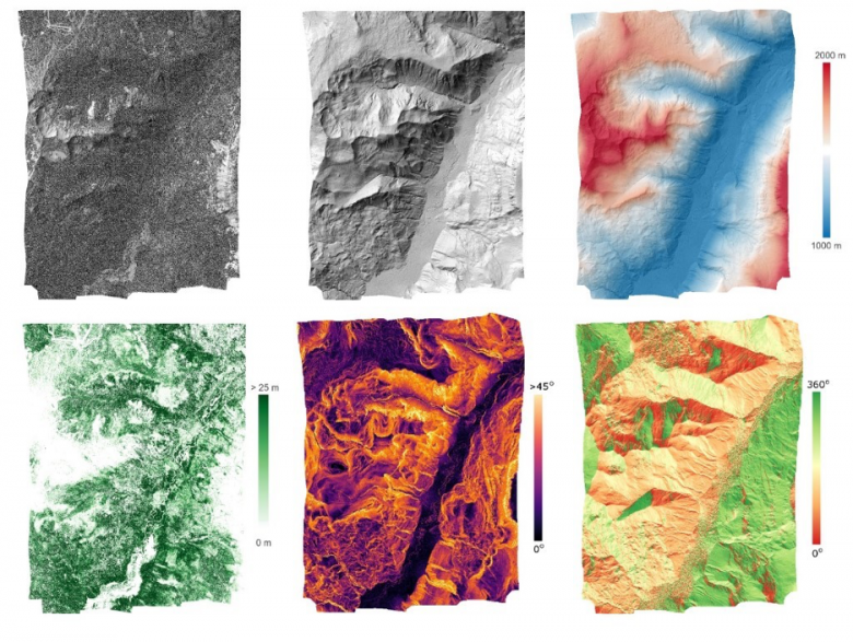 Figure 5 – L3 lidar products. Clockwise from top left: DSM hillshade map, DTM hillshade map, DTM hillshade map colored by elevation, terrain aspect, terrain slope, and canopy height model at Miriam Fire (MRMF), an assignable asset (NSF rapid response) flight to assess post-wildfire ecosystem structure in conjunction with the Burned Biomass FLUX (BBFLUX) group.