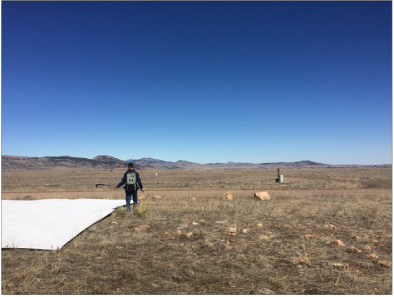 Figure 4 - Field spectrometer measurements of calibration tarps during a Routine Vicarious Calibration Flight over Table Mountain, Boulder, CO