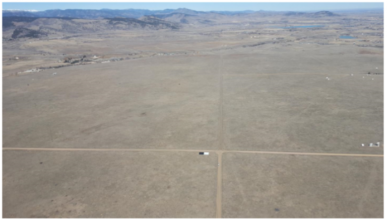 Figure 4 - Routine Vicarious Calibration Flight over Table Mountain, Boulder, CO showing two calibration tarps