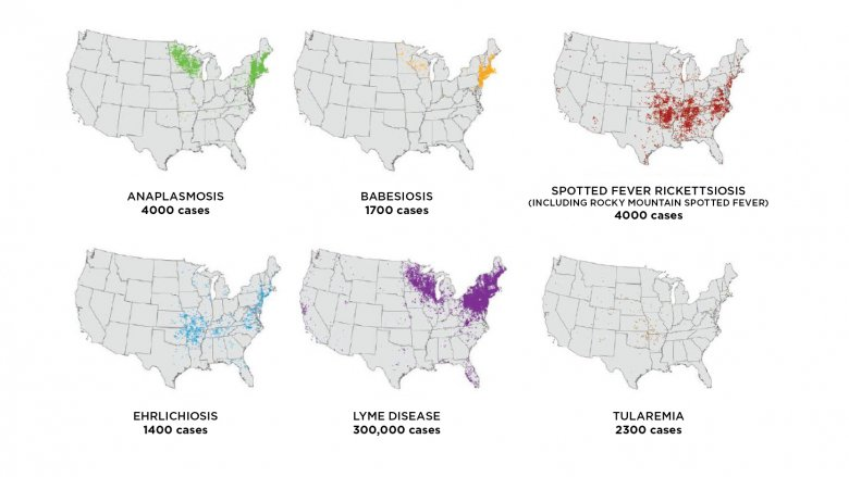 Map of tickborne diseases by geographic area of the U.S. in 2018
